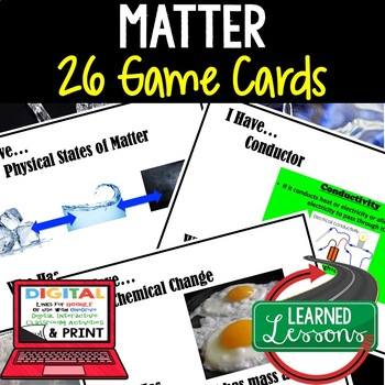 Matter Game Cards, Physical Science Test Prep, NGSS