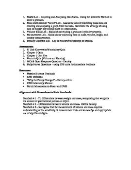 Physical Science Measurement Unit Plan