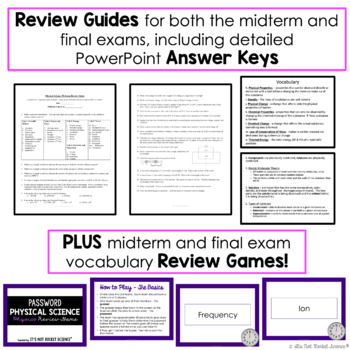 Physical Science Midterm and Final Exam Review and Test Pack