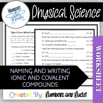 Physical Science Naming and Writing Ionic and Covalent Bonds Test with Key