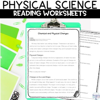 Physical Science Nonfiction Reading Worksheets and Activities