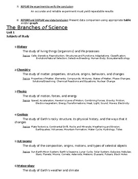 Physical Science Note Pack #1