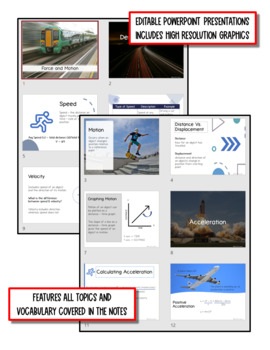 Motion & Forces: Physical Science Notes, PowerPoint & Test ~ EDITABLE
