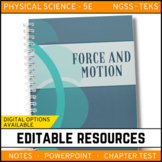 Motion & Forces Notes, PowerPoint & Test Google Classroom Distance Learning