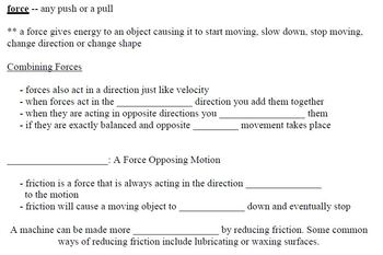 Physical Science Brief Notes with Key Grades 5-8