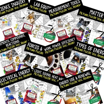 Physical Science Picture Puzzle Study Guide Test Prep BUNDLE