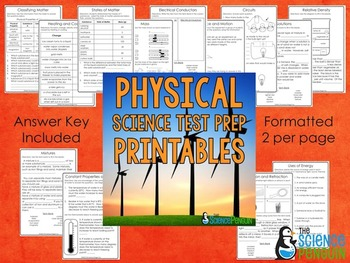 physical science printables by the science penguin tpt. Black Bedroom Furniture Sets. Home Design Ideas