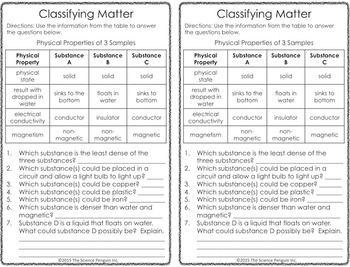 Physical Science Printables