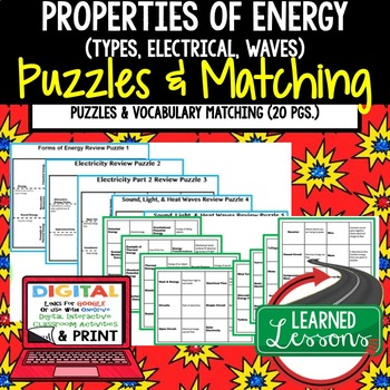 Physical Science Properties of Energy Puzzles & Vocabulary Matching Google-Print
