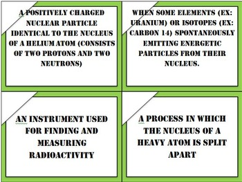 Physical Science Radioactivity Task Cards (Fully Editable with Key)