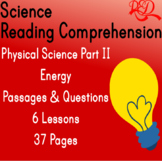 Physical Science Reading Passages & Questions | Energy, Mo
