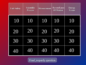 Physical Science Review Jeopardy #1 (lab motion energy)
