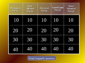 Physical Science Review Jeopardy #2 (energy light sound)