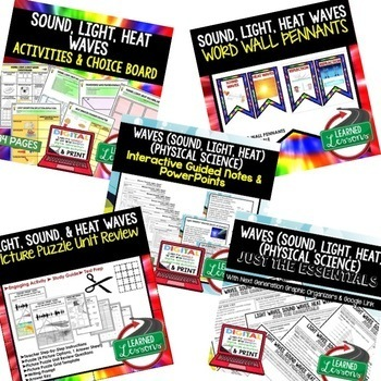 Physical Science Sound, Light, & Heat Waves (Physical Science BUNDLE)