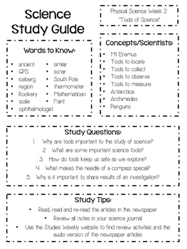 Physical Science Study Guides for Studies Weekly Newspaper