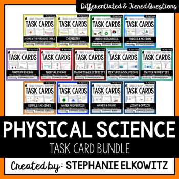 Physical Science Task Card Differentiated and Tiered Bundle