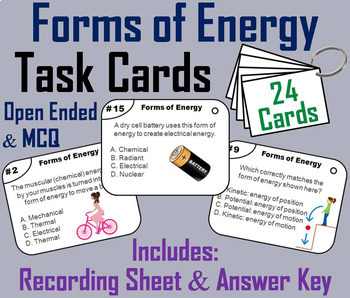 Physical Science Task Cards: Waves, Circuits, Energy, States of Matter etc.