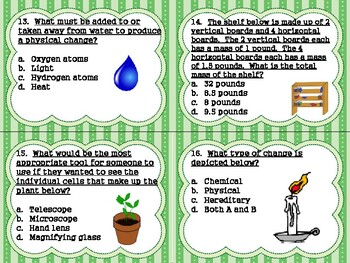 Physical Science Task Cards w/ QR Codes: Sum of Parts & Chemical/Physical