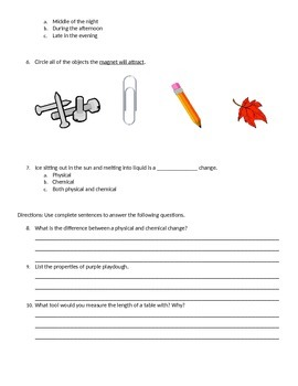 Physical Science Test 3rd Grade
