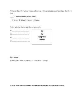 Physical Science Test B Final Exam