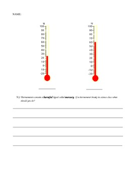 Physical Science Thermal Energy Assessment Modified Special Education