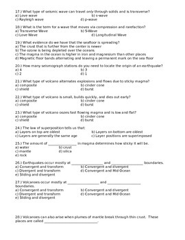 Physical Science Unit 2 Exam Test Questions Earth Science