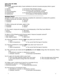 Physical Science Unit 6 Exam Test Questions Dimensional An