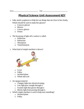 Physical Science Unit Assessment - 4th Grade Science
