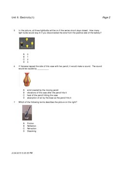 Physical Science Unit Quizzes and Overall Test