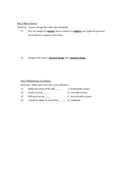Physical Science Vocabu-Links: Matter