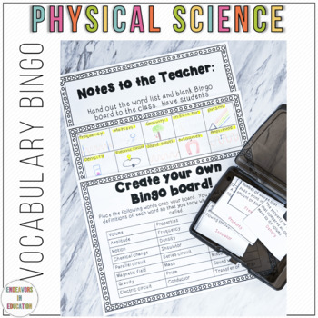 Test Prep: Physical Science Vocabulary Bingo