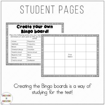 Physical Science Vocabulary Bingo Test Prep