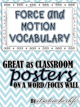Physical Science Vocabulary Cards (Force and Motion)
