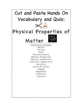 Physical Science Vocabulary Cut and Paste and Quiz BUNDLE
