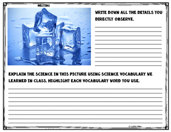 Physical Science Matter Vocabulary Observations