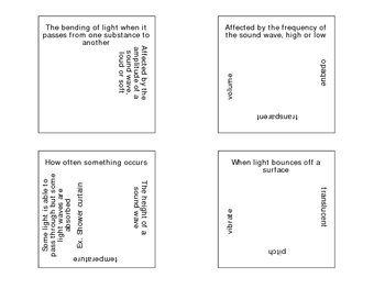 Physical Science Vocabulary Puzzle