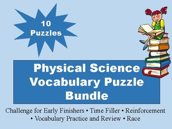 Physical Science Vocabulary Puzzle BUNDLE