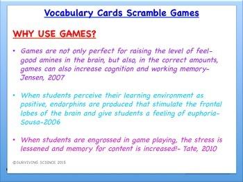 Physical Science Vocabulary Scramble : FORMULAS AND EQUATIONS (TX TEKS 8.5DF)