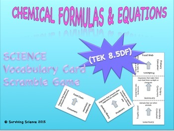 Physical Science Vocabulary Scramble : FORMULAS AND EQUATI