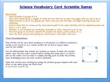Physical Science Vocabulary Scramble Game: PERIODIC TABLE (TX TEK 8.5C)