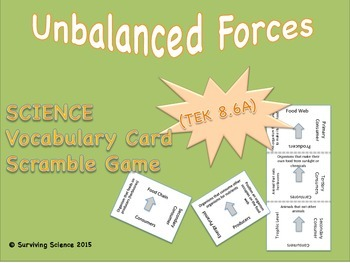 Physical Science Vocabulary Scramble : UNBALANCED FORCES (TX TEKS 8.6A)