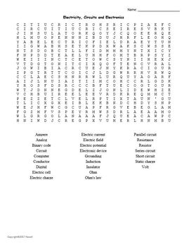 Physical Science Vocabulary Word Searches for Physical Science Students