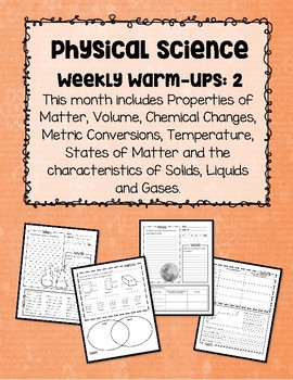 Physical Science Weekly Warm-Ups Month #2