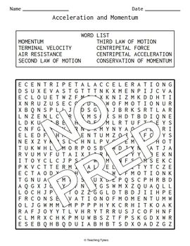 Acceleration and Momentum Word Search