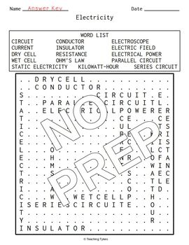 Electricity Word Search
