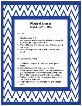 Physical Science Word Sort Review Game