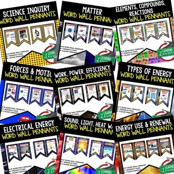 Physical Science Word Wall 308 Pennants (Physical Science Bundle)