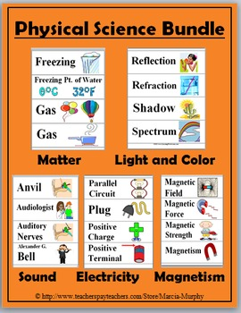 Physical Science Word Wall Bundle - Matter, Light, Electri