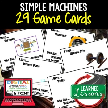 Physical Science Work Power Efficiency 29 I Have, Who Has Game Cards