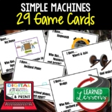 Simple Machines Game Cards, Physical Science Test Prep, NGSS